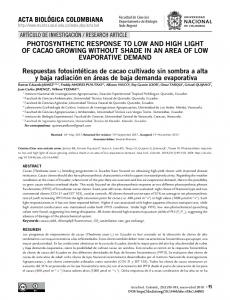 PHOTOSYNTHETIC RESPONSE TO LOW AND HIGH LIGHT OF ...