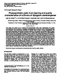 Photosynthetic yield, fruit ripening and quality ... - Academic Journals
