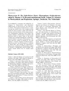 Photosystem II: The Light-Driven Water - Springer Link