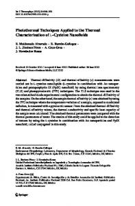 Photothermal Techniques Applied to the Thermal ... - Springer Link