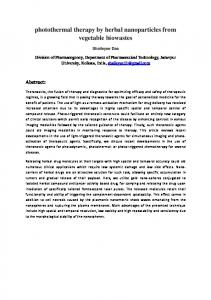 photothermal therapy by herbal nanoparticles from ...