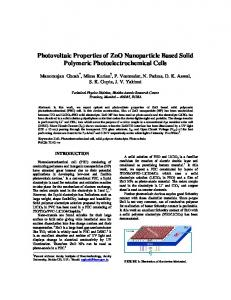 Photovoltaic Properties of ZnO Nanoparticle Based Solid ... - arXiv