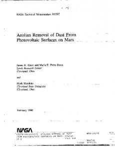 Photovoltaic Surfaces__on. Mars - NASA Technical Reports Server