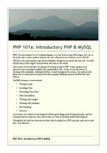 PHP 101a: Introductory PHP & MySQL Course ... - 101Courseware