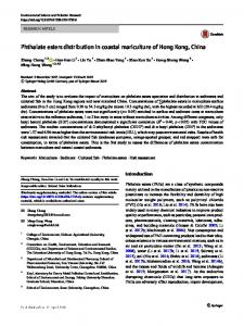 Phthalate esters distribution in coastal mariculture of ... - Springer Link