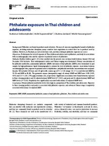 Phthalate exposure in Thai children and adolescents