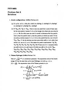 PHY4605 Problem Set 6 Solutions