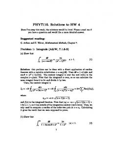 PHY7110. Solutions to HW 4