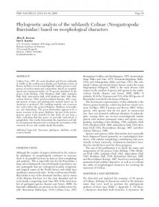 Phylogenetic analysis of the subfamily Colinae (Neogastropoda ...