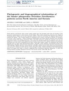 Phylogenetic and biogeographical relationships of the Sander ...