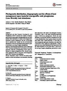 Phylogenetic distribution, biogeography and the ...