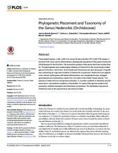 Phylogenetic Placement and Taxonomy of the ... - Semantic Scholar
