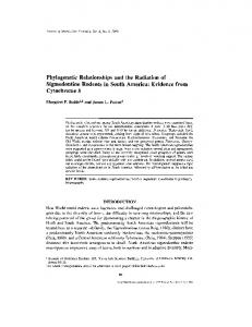 Phylogenetic Relationships and the Radiation of Sigmodontine ...