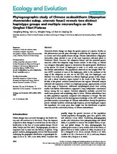 Phylogeographic study of Chinese ... - Wiley Online Library