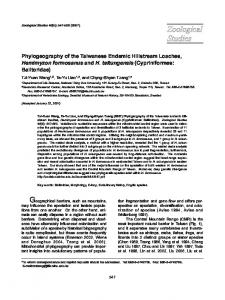 Phylogeography of the Taiwanese Endemic Hillstream ... - CiteSeerX
