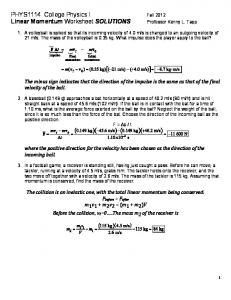 PHYS1114 College Physics I Linear Momentum Worksheet ...