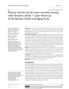 Physical activity and all-cause mortality among ... - Semantic Scholar