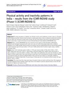 Physical activity and inactivity patterns in India - Springer Link