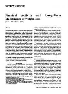 Physical Activity and LongTerm Maintenance of ... - Wiley Online Library