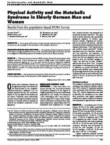 Physical Activity and the Metabolic Syndrome in Elderly German Men ...