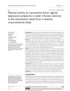 Physical activity as a protective factor against ... - Semantic Scholar