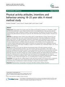 Physical activity attitudes, intentions and behaviour ... - BioMedSearch