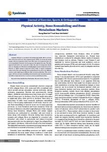 Physical Activity, Bone Remodelling and Bone ... - Symbiosis