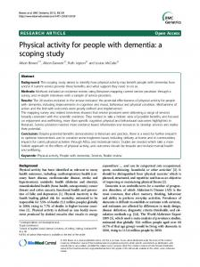 Physical activity for people with dementia: a scoping study - CiteSeerX
