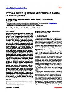 Physical activity in persons with Parkinson disease: A feasibility study