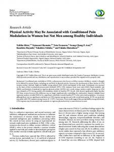 Physical Activity May Be Associated with Conditioned Pain Modulation ...