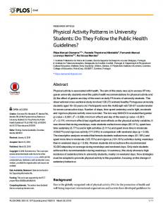 Physical Activity Patterns in University Students - PLOS