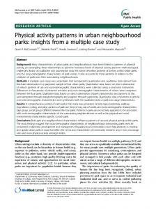 Physical activity patterns in urban neighbourhood parks - Springer Link
