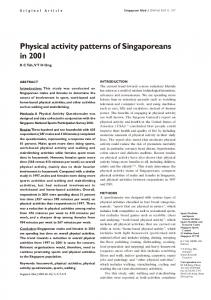 Physical activity patterns of Singaporeans in 2001
