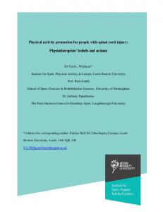 Physical activity promotion for people with spinal cord ...