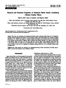 Physical and Chemical Properties of Biobased Plastic ... - USDA ARS