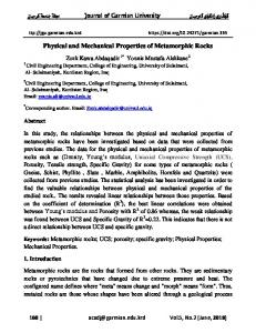 Physical and Mechanical Properties of Metamorphic