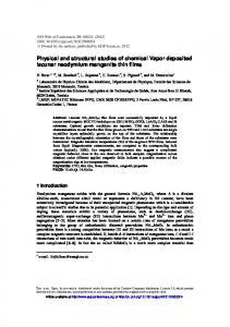 Physical and structural studies of chemical Vapor deposited lacunar