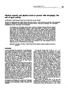 Physical capacity and physical strain in persons with tetraplegia - Nature