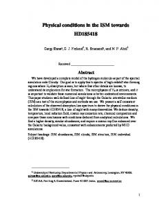 Physical conditions in ISM towards HD185418 - arXiv