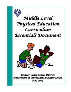 Physical Education - Middle Level - Boulder Valley School District