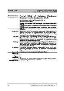 Physical Effects of Methadone Maintenance ... - Semantic Scholar