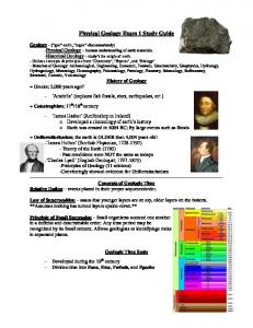 Physical Geology Exam 1 Study Guide
