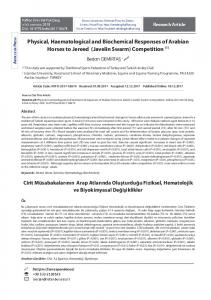Physical, Haematological and Biochemical Responses of Arabian ...