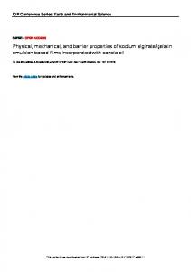Physical, mechanical, and barrier properties of ...