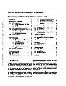 Physical Properties of Biological Membranes