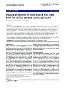 Physical properties of metal-doped zinc oxide films for surface