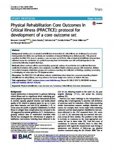 Physical Rehabilitation Core Outcomes In Critical illness - Trials