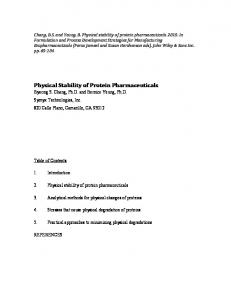 Physical Stability of Protein Pharmaceuticals - Final - Integrity Bio