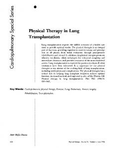 Physical Therapy in Lung Transplantation