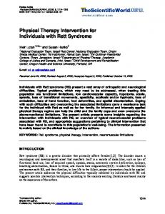Physical Therapy Intervention for Individuals with